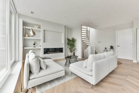 Perspective of cozy living room