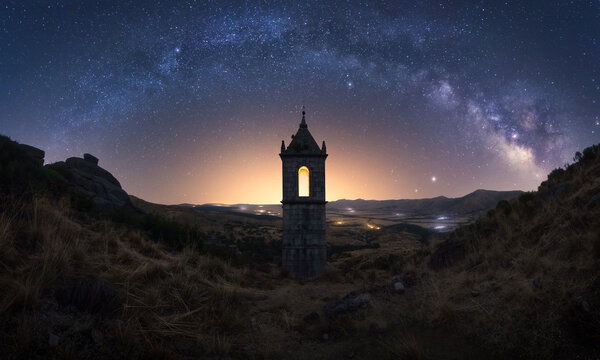 Ancient building under starry sky with Milky Way