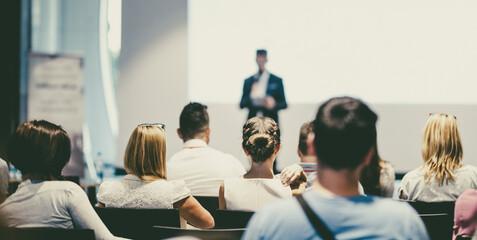 Fototapeta Male business speaker giving a talk at business conference event. obraz