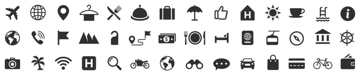 Fototapeta Travel icons set. Tourism simple icon collection. Vector obraz