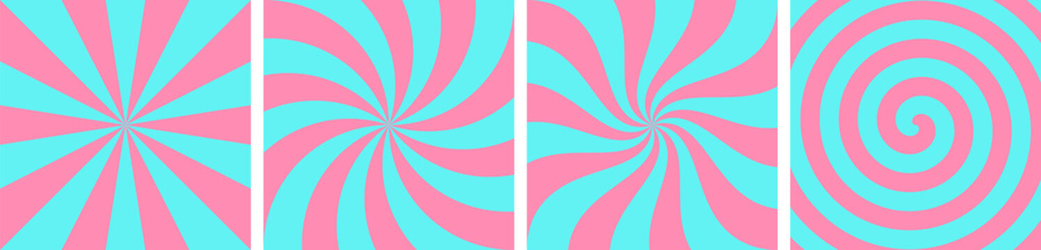 Set of blue and pink sweet candy abstract vector backgrounds