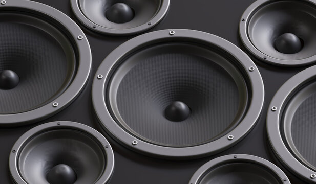 Many audio speakers in studio. 3D rendered illustration.