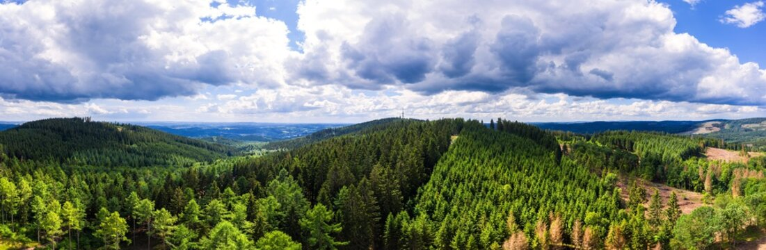 the kindelsberg mountain and forests near siegen germany panorama