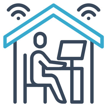 work from home line icon