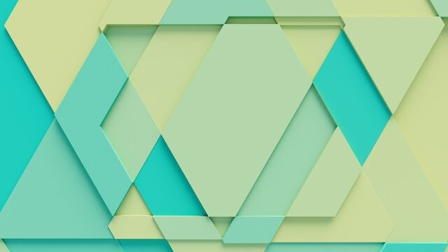 Turquoise and Yellow Tech Background with a Geometric 3D Structure. Clean, Minimal design with Simple Futuristic Forms. 3D Render.
