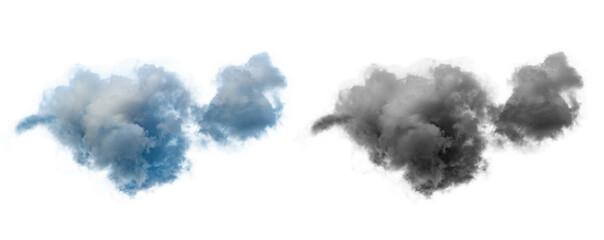 Fototapeta single dramatic looking blue rain cloud on white background with luma mask. obraz