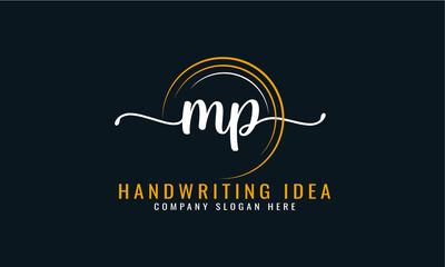 Obraz Initial M P, letter handwriting logo Design  - fototapety do salonu