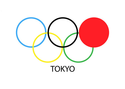 May 14, 2021. Kiev Ukraine.  Olympic logo. Olympic Games in Tokyo. Illustrative image for articles on the Internet.