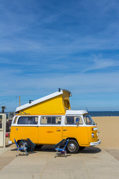 Scheveningen beach, the Netherlands - May 21, 2017: yellow VW combi camper wagen at Aircooled classic car show
