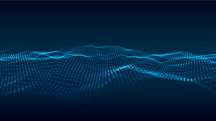 Obraz Digital technology wave. Abstract background with dots moving in space. Futuristic modern dynamic wave. Vector illustration. - fototapety do salonu