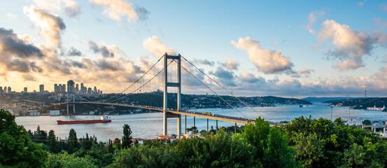 ISTANBUL, TURKEY. Panoramic view of Istanbul Bosphorus on sunset. Istanbul Bosphorus Bridge (15...