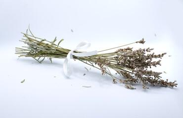 Bouquet de lavande avec noeud sur fond blanc