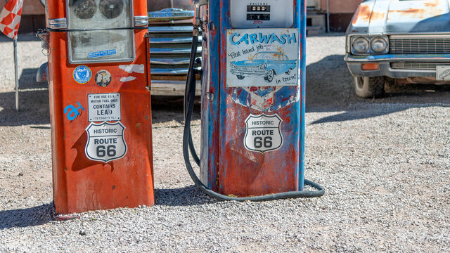 SELIGMAN, AZ - JUNE 29, 2018: Ancient gas station on historic Route 66. Old gas stations are a famous tourist attraction