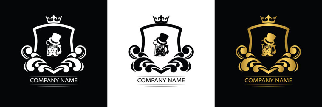 beer, beer pub logo template luxury royal vector company decorative emblem with crown
