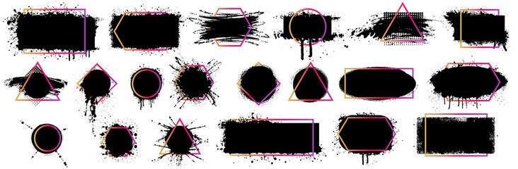 Fototapeta Compositions are blots, paint brushstrokes, grunge with a frame, text boxes in geometric frames with text and titles. Dirty design elements, speech template in quotation marks. Illustration of shapes obraz