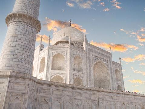 Taj Mahal side shot at sunset