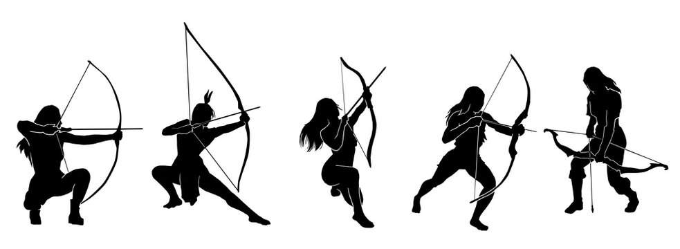 female fantasy archer warrior action silhouette