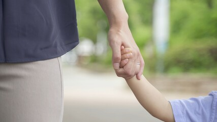 Fototapeta 公園で手をつないで歩く親子 obraz