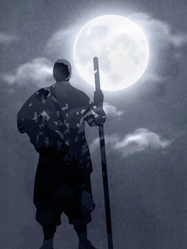 An Asian Soldier Holding The Stick Under The Moonlight