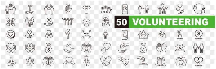 Fototapeta Volunteering icons set. Outline set of volunteering vector icons for web design isolated on white background obraz