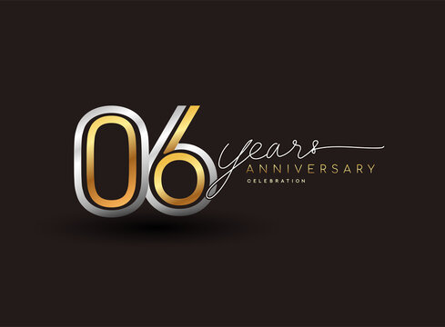 6th years anniversary logotype with multiple line silver and golden color isolated on black background for celebration event.