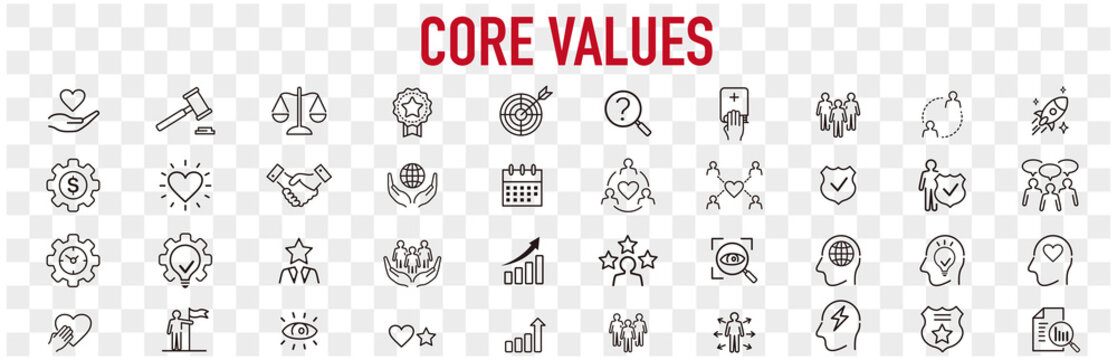 Set of core values icons vector
