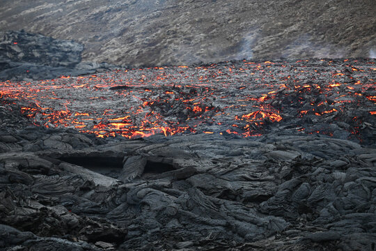 Flowing Magma Collecting And Cooling Down Into A Lava Field.