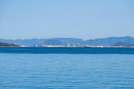 Distant view of marugame city , view from shonai peninsula , kagawa, shikoku, japan
