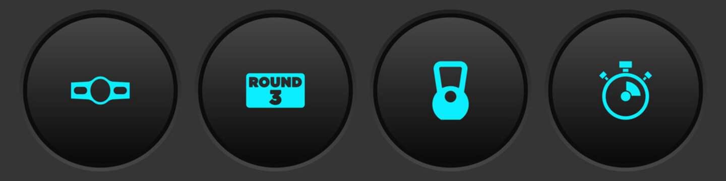 Set Boxing belt, ring board, Kettlebell and Stopwatch icon. Vector