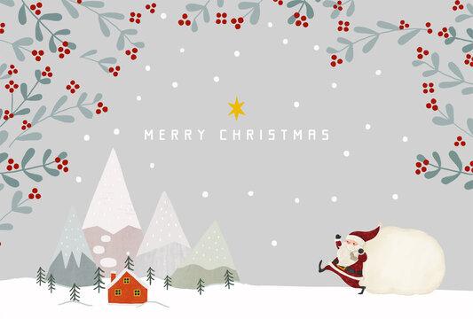 雪化粧の山と赤いお家とモミの木とサンタクロースのイラスト グレー