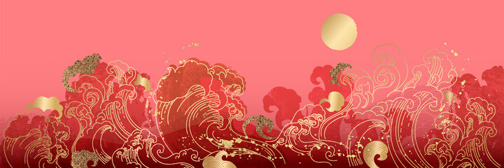 Asian background ,Oriental Chinese and Japanese style abstract pattern background design  with goldfish and wave decorate in water color texture