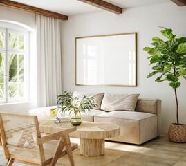 Fototapeta Mockup frame in living room interior of Spanish villa, 3d render obraz