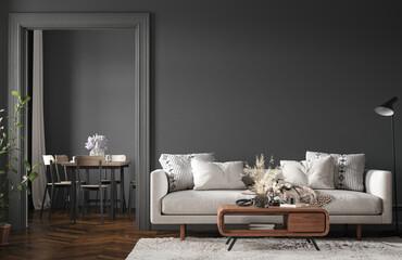 Fototapeta Home interior, modern dark living room interior, black empty wall mock up, 3d render obraz