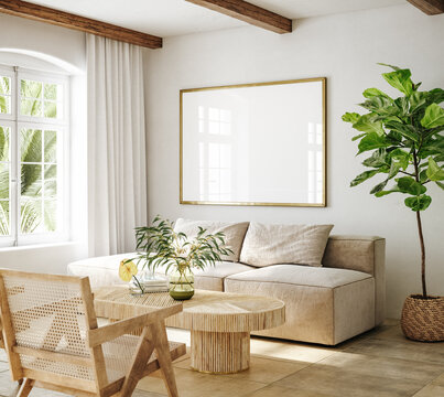 Mockup frame in living room interior of Spanish villa, 3d render