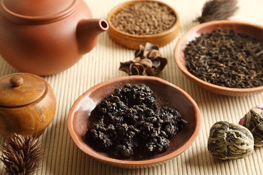 Set of various types of tea