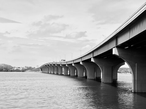 Webster Bridge, Highway 172,  Over The Fox River In Green Bay Wisconsin Agaisnt Sky.