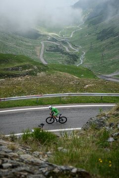 SIBIU, ROMANIA - JULY 5, 2021: First edition of Transfagarasan Challenge cycling competition, one of the toughest amateur cycling races in Fagaras Mountains, Romania.