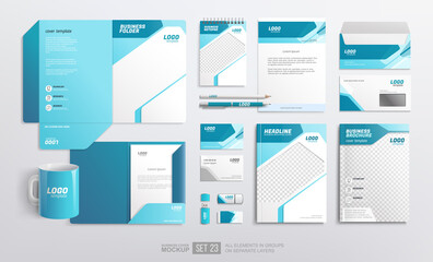 Obraz Mockup set of office stationery Corporate Brand Identity. Business stationery. Light blue and white color abstract geometric graphics on Folder, annual report cover, brochure, corporate mug - fototapety do salonu