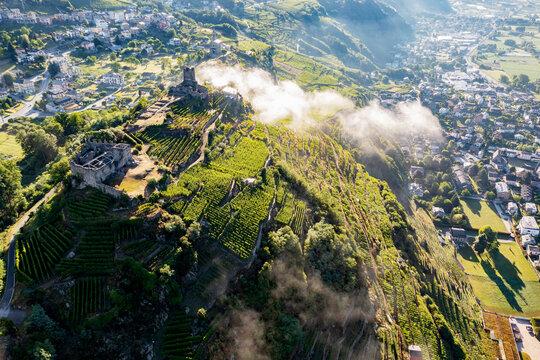 Sondrio, Valtellina , Italy, Castel Grumello and vineyards, aerial view