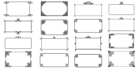 Fototapeta Decorative frames retro ornamental, vintage square ornaments and ornate border vector set obraz