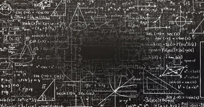 Digital image of mathematical equations and diagrams moving against black background