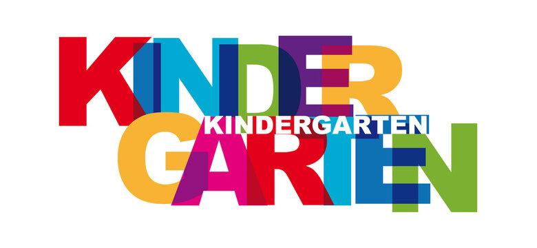 Kindergarten - Text mit bunten Buchstaben - Vektor-Schriftzug