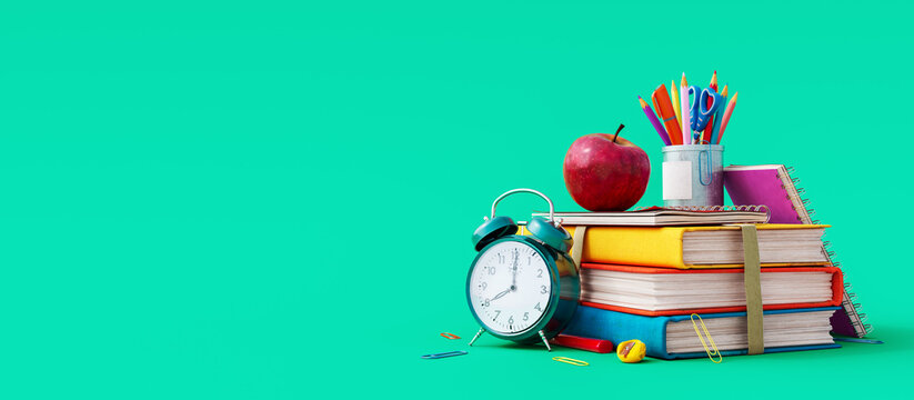 School accessories with apple, books and alarm clock on green background. Back to school concept. 3D Rendering, 3D Illustration
