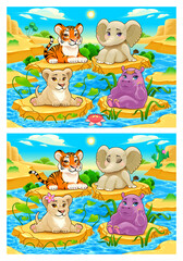 Spot the differences. Two images with seven changes between them, vector and cartoon illustrations