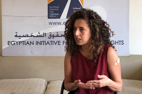 Lobna Darwish, gender and women rights officer at Egyptian Initiative for Personal Rights, speaks during an interview with Reuters in Cairo