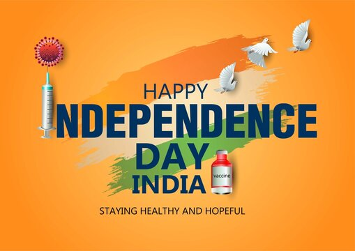 happy independence day India with orange color background. covid-19, corona virus concept. vector illustration design