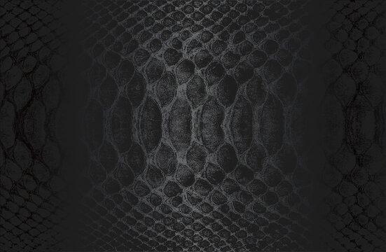 Luxury black metal gradient background with distressed crocodile, snake, alligator skin leather texture.