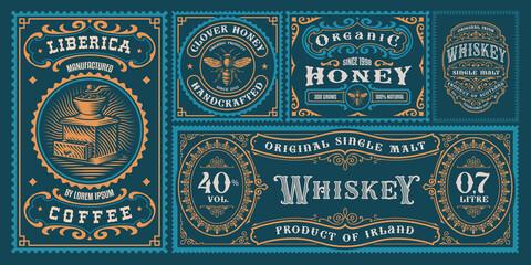 Fototapeta A set of vintage labels obraz