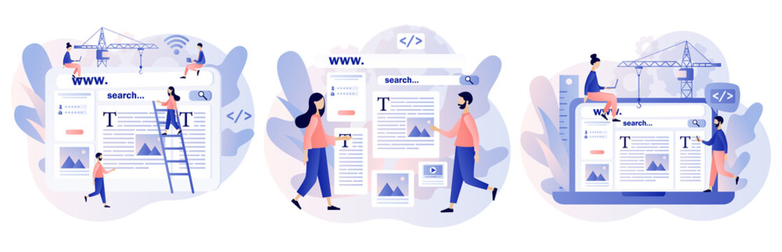 Web design concept. Tiny people building webpage. Website interface design. Software development process. Programming and coding. SEO.Modern flat cartoon style. Vector illustration on white background