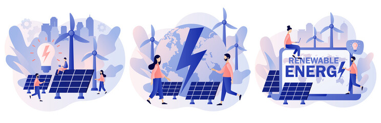 Fototapeta Alternative renewable energy. Tiny people on Power plant with solar panels and windmills. Green energy concept. Eco Industry. Modern flat cartoon style. Vector illustration on white background obraz